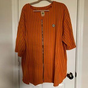 Orange men's baseball jersey top